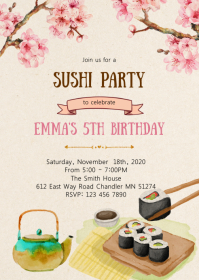 Sakura sushi birthday party invitation