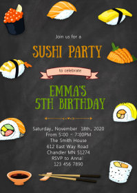 Sakura sushi birthday party invitation A6 template