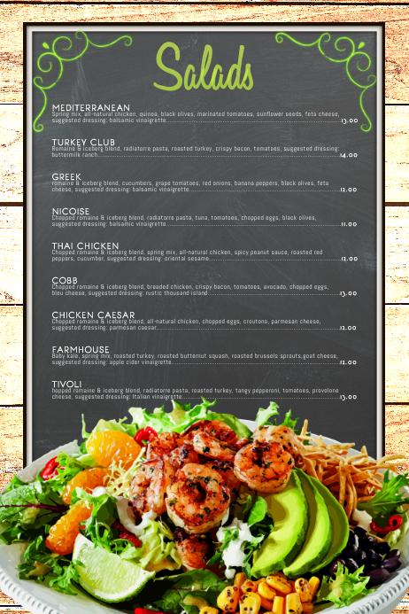 salad menu template