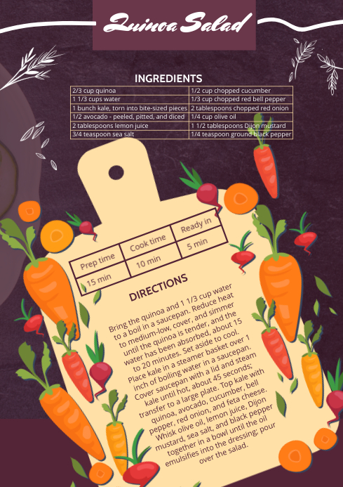Salad Recipe Card Design