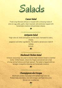 Salads simple paper vegetables menu