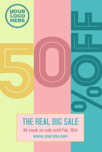 Sale 50% event flyer Poster template