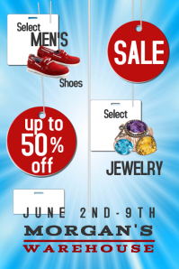 Blue With Tags Sale Ad Flyer Poster  For Sale Ad Template