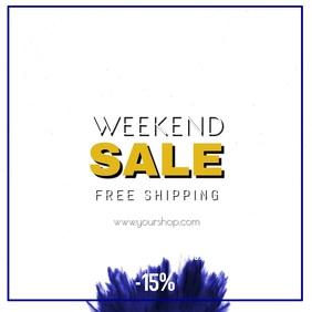 Sale Advert Weekend Promo Square Splash Blue Discount