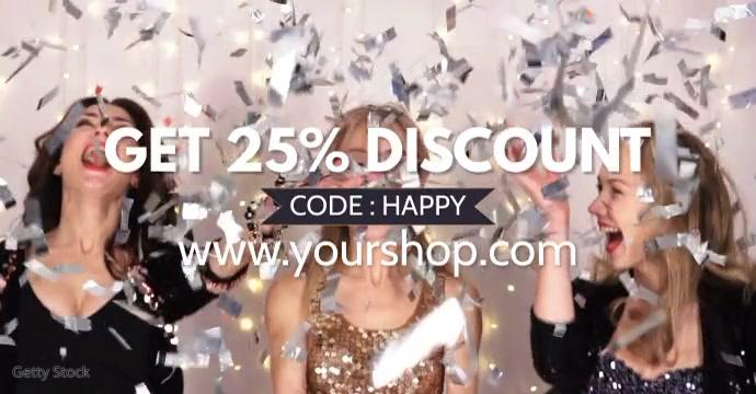Sale Discount % Price off video Happy Women G Reklama na Facebooka template