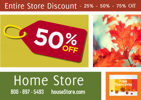 Sale/discounts/thanksgiving sale/fall Postkort template