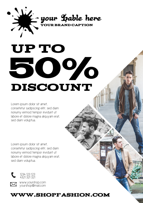 Sale flyer retail clothing template advert