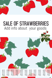 Sale of strawberries poster template