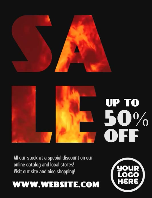 Sale on Fire 50% off flyer video template