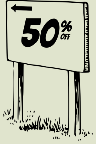 sale sign with arrow
