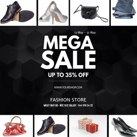 Sale Store Shopping retail Square Template ad
