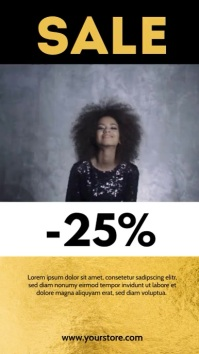 Sale Story Video Glitter Gold Happy Women Ad Instagram-Story template