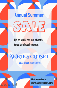 Sale template with red white and blue beachballs