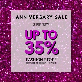 Sale video Anniversary advert promo glitter store retail