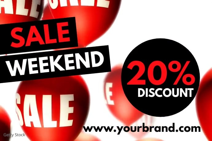 Sale Video balloons Discount Price Off Advert Spanduk 4' × 6' template