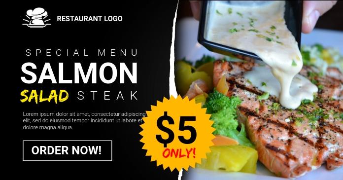 Salmon Steak Ad Facebook 共享图片 template