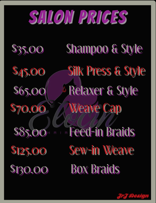SALON PRICES TEMPLATE