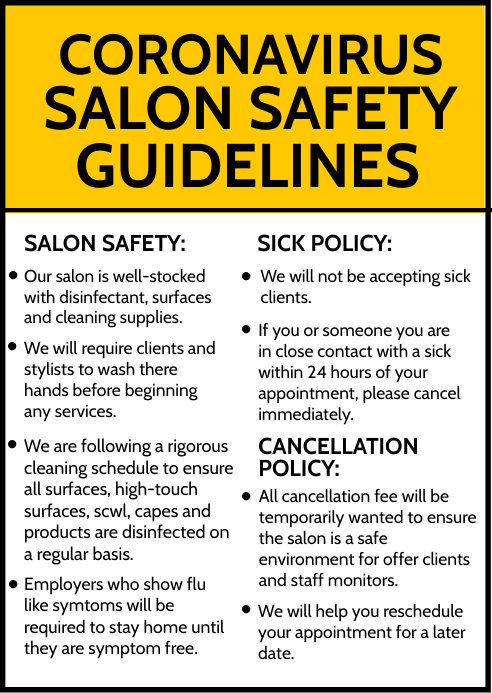 Salon Safety Guidelines Template A6