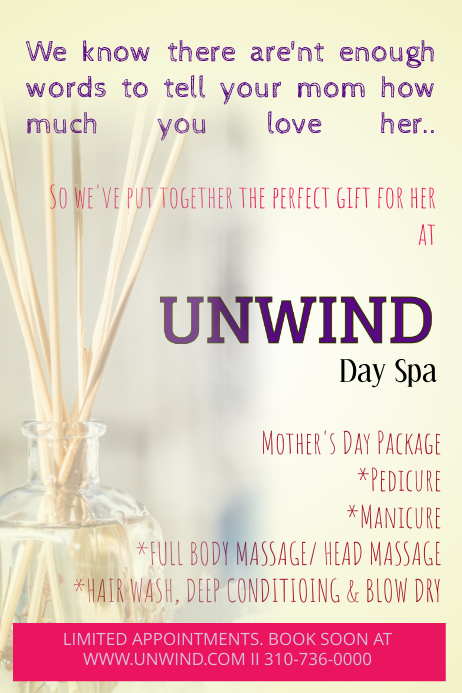 salon spa mother s day poster template postermywall