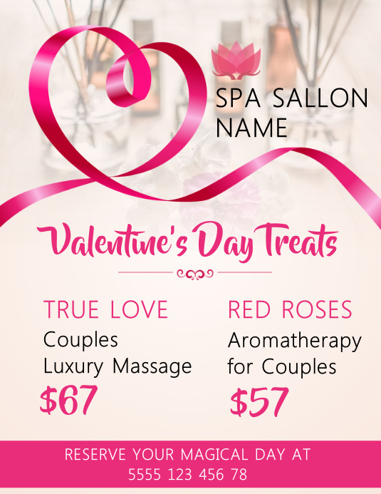 Salon Valentine Promotion Flyer Templates