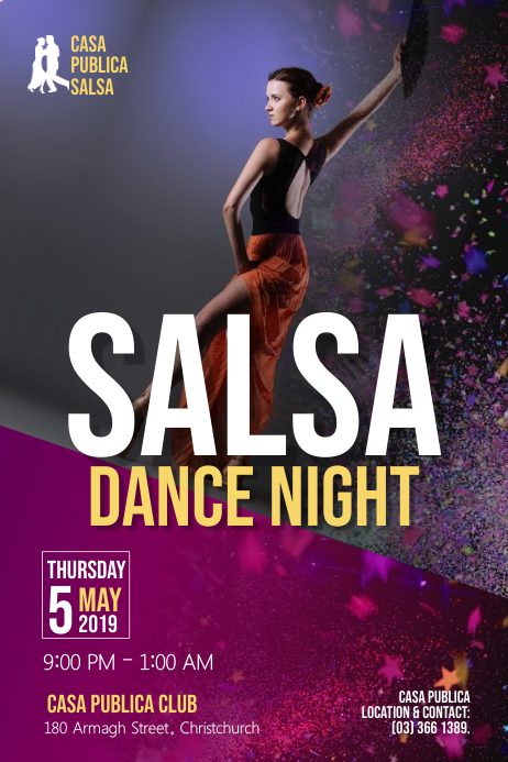 Salsa Dance Night Poster Affiche template