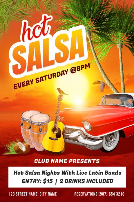 Salsa Dance Night Poster Template