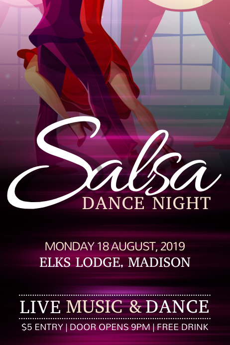 Salsa Dance Purple Poster