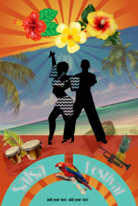 salsa/festival/hispanic/beach party/dance Poster template