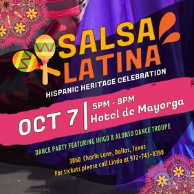 Salsa Latina Hispanic Event Video Ad Square (1:1) template