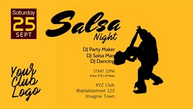 Salsa Night Party Event Latin Dance Dancing Facebook Cover Video (16:9) template