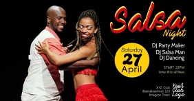 Salsa Night Party Event Latin Dance Video Header Size Facebook-annonce template