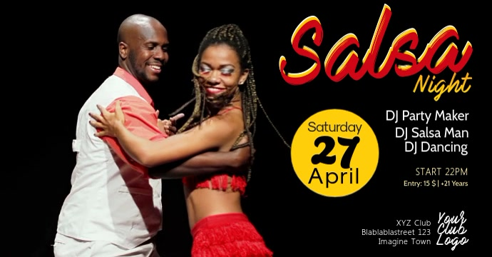 Salsa Night Party Event Latin Dance Video Header Size