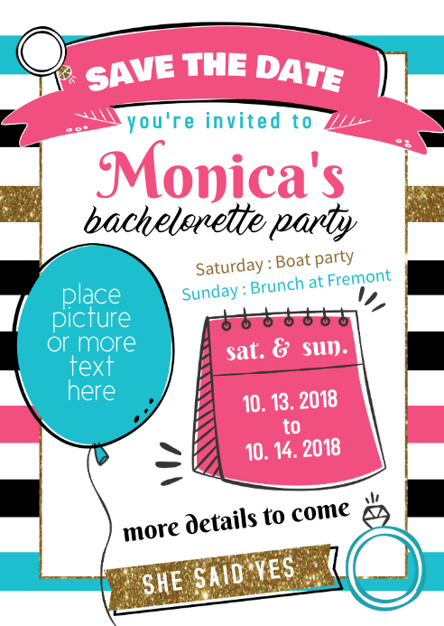 Bachelorette Party Invite Template Postermywall