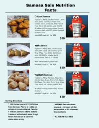 Samosa Menu Nutrition Facts