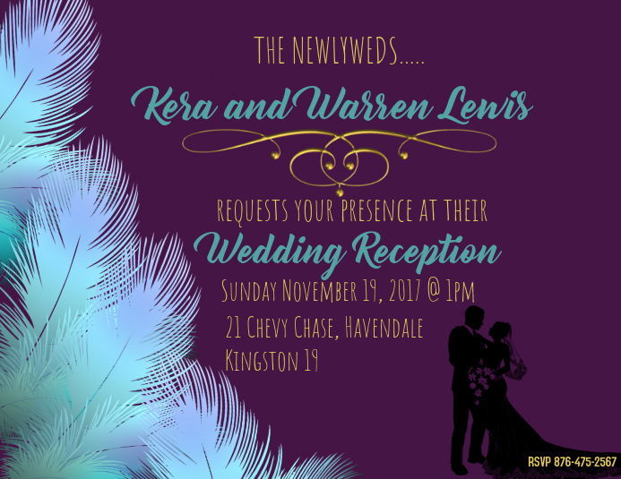 Sample Wedding Reception Invite Template Postermywall