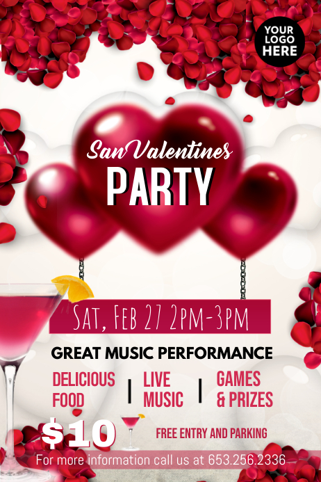 San Valentines Party Poster template