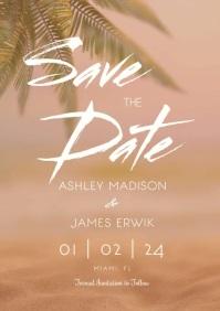 Sand Beach Tropical Save the Date Invitation A5 template
