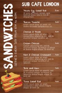 Sandwich Bar Snacks Menu Template