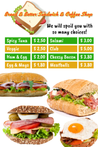 Sandwich Shop Template Плакат