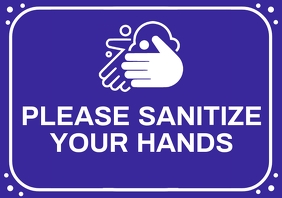 Sanitize Your Hand Sign Board Template A4