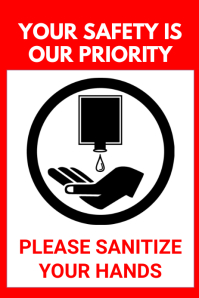 SANITIZE YOUR HANDS SIGN BOARD Poster template