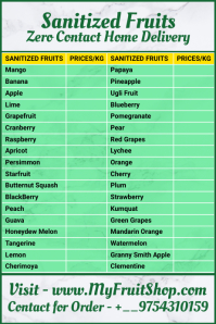 Sanitized Fruits List Template แบนเนอร์ 4' × 6'