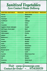 Sanitized Vegetable List Template แบนเนอร์ 4' × 6'