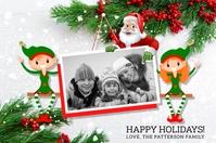 Santa & Elves Holiday Photo Postcard