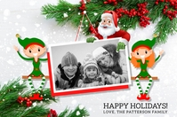 Santa & Elves Holiday Photo Postcard Etykieta template