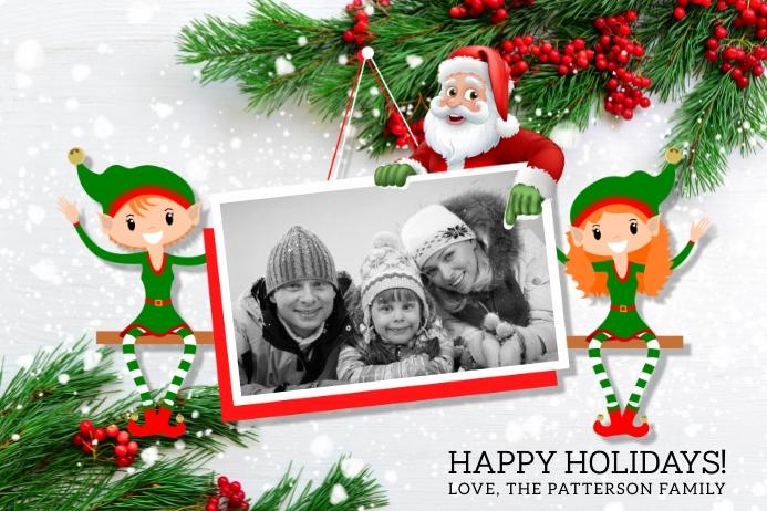 Santa & Elves Holiday Photo Postcard Label template