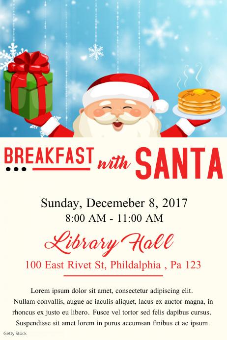 santa breakfast poster template postermywall