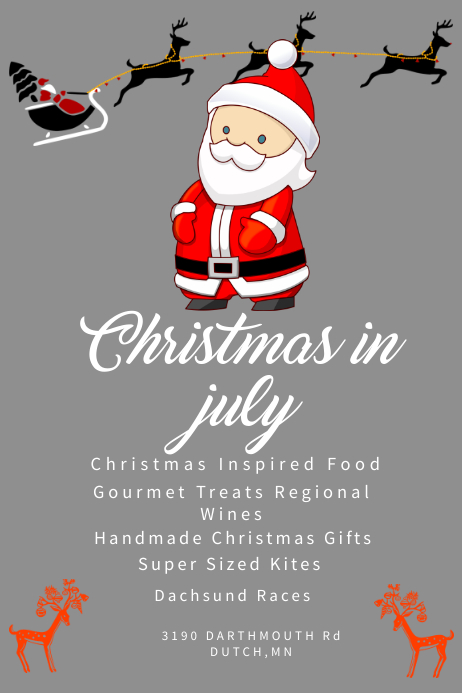 Santa Christmas In July Poster Template