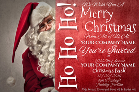 Santa Sign Christmas Red White X-Mas Holiday Party Event Ad