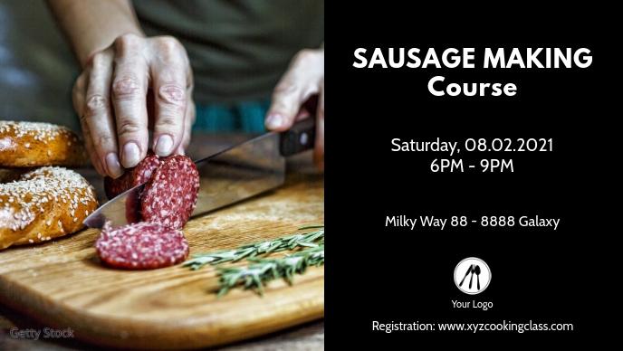 Sausage Making Course Class Food Workshop Ad Vídeo de capa do Facebook (16:9) template
